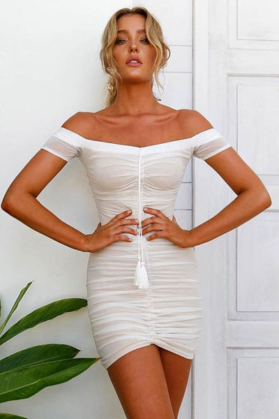Sexy Tie-Front Pleated Club Dress