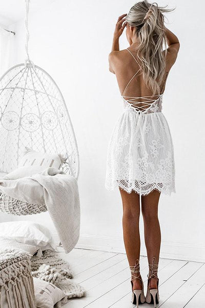 Sexy Backless Spaghetti Strap Lace Day Dress