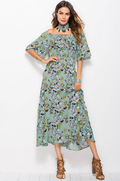 Chic Printing Slash Collar Maxi Dress