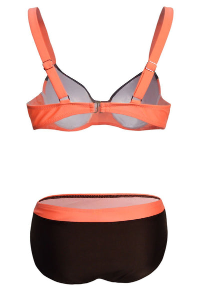 Sexy Color Block Pleated 2-Piece Bikini Set