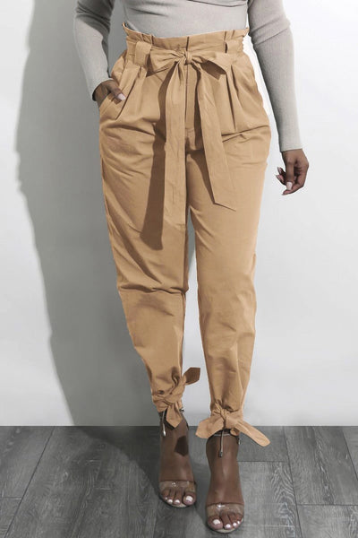 Vintage Plain Lace-Up Pencil Pant