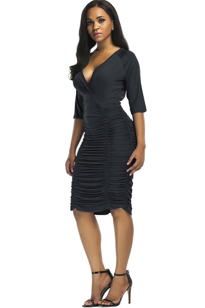Stylish V-Neck Pleated Bodycon Dress