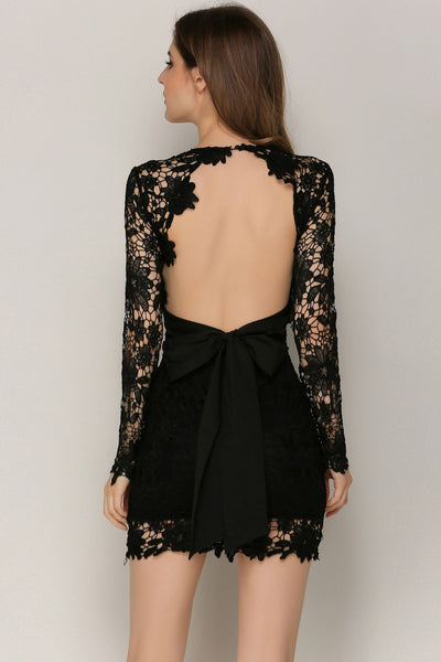 Sexy Backless Lace-Up Lace Dress