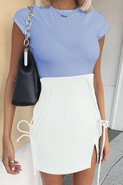 Solid Color Side-Slit Overall Bodycon Dress