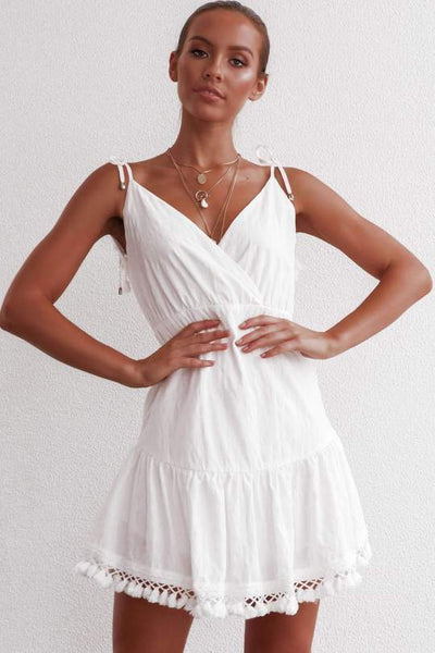 Vogue Backless Tassel Day Dress