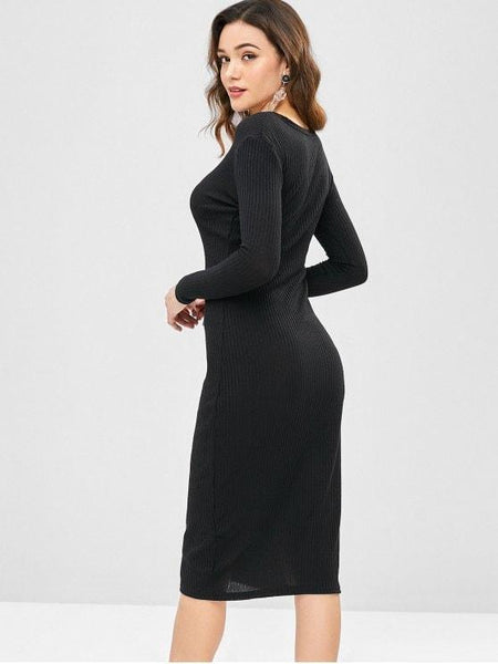 Solid Color Slim Open-Front Sweater Dress