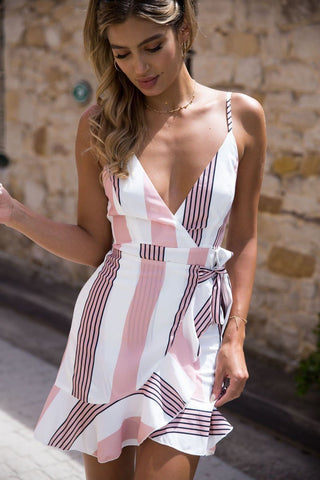 Printing V-Neck Asymmetrical Bodycon Dress