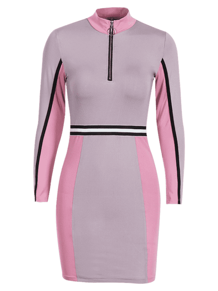 Half Zip Contrast Bodycon Dress