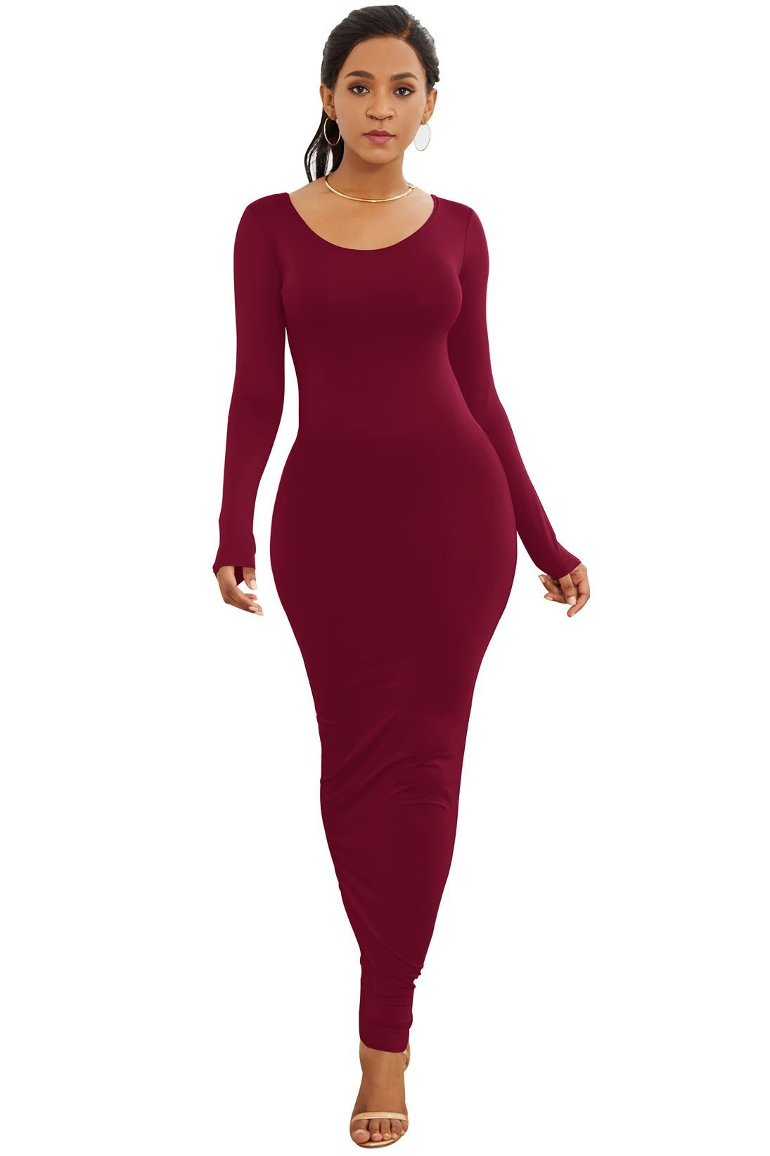 Slimming Candy Color Maxi Dress
