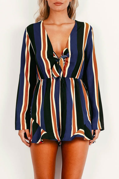 Sexy Stripes Long Sleeve Romper
