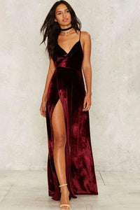 Vintage Side-Slit Backless Party Dress