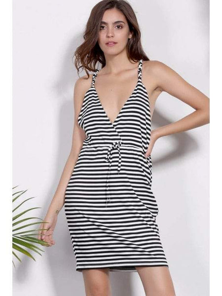 Deep V Neck Striped Bodycon Dress