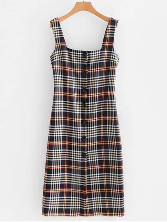 Button Up Plaid Bodycon Dress