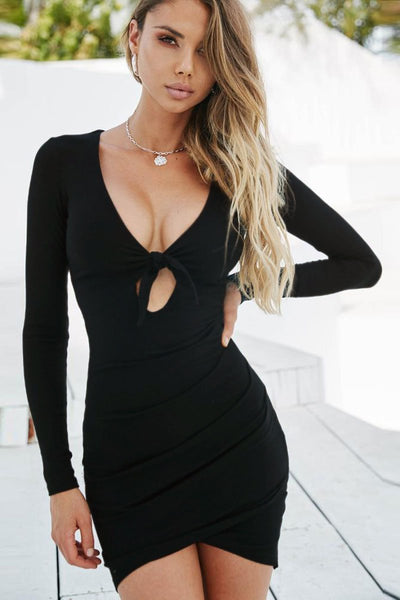 Sexy Tie-Front Long Sleeve Club Dress