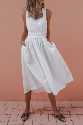 Chic Pleated Button High Waist Day Dress