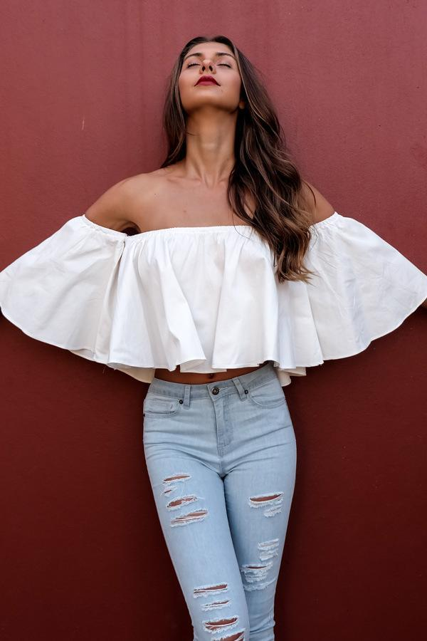 Ruffles Pleated Crop Blouse