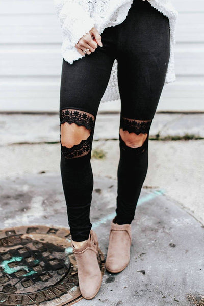 Sexy Cut-Out Patchwork Leggings