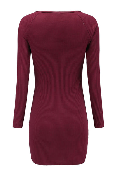 Slimming Invisible Button Sweater Dress