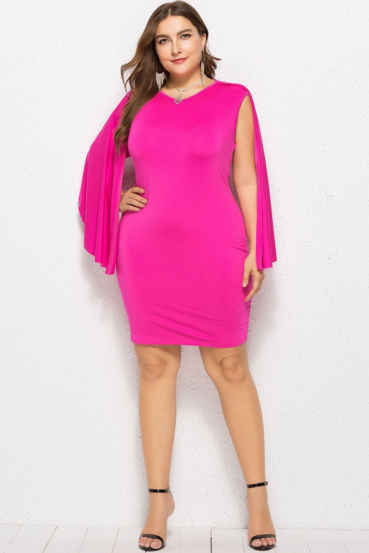 Vogue Slim Batwing Sleeve Party Dress
