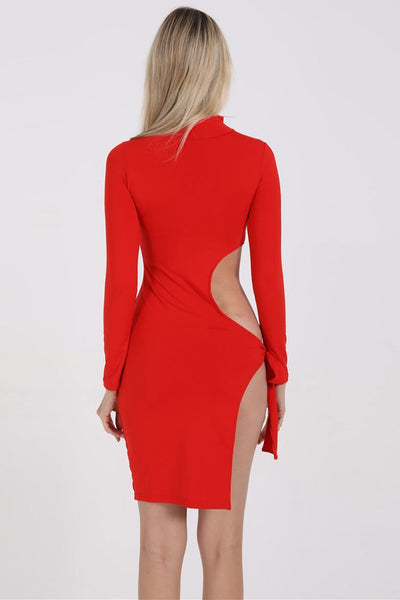 High-Neck Side-Tie Club Dress