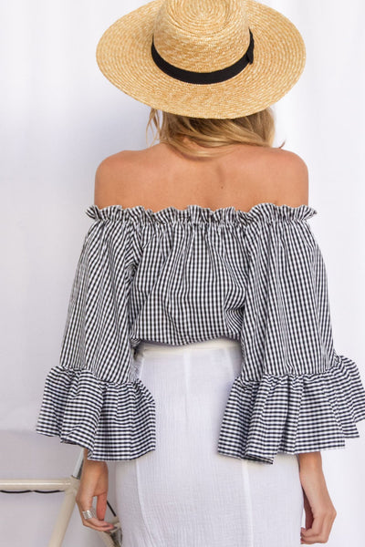 Chic Plaid Flare Sleeve Short Top