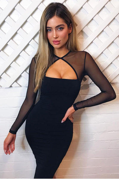 Sexy Patchwork Cut-Out Bodycon Dress