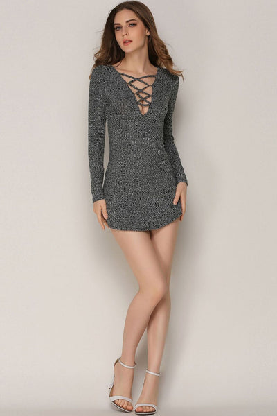 Slimming Strap Back-Zip Sweater Dress