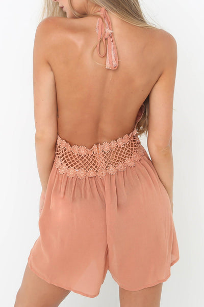 Sexy Lace-Trim Backless Romper