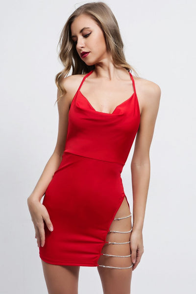 Sexy Chain Designed Backless Club Dress