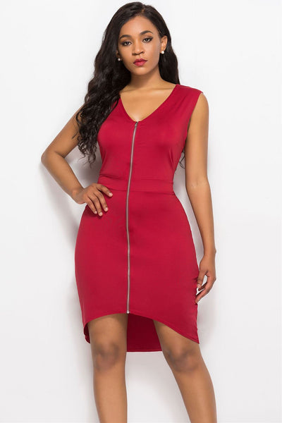 Chic Zipper High-Low Bodycon Dress