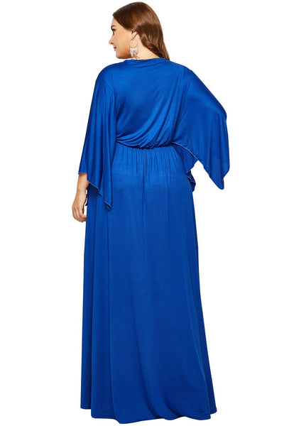Plain V-Neck Flared Sleeve Maxi Dress
