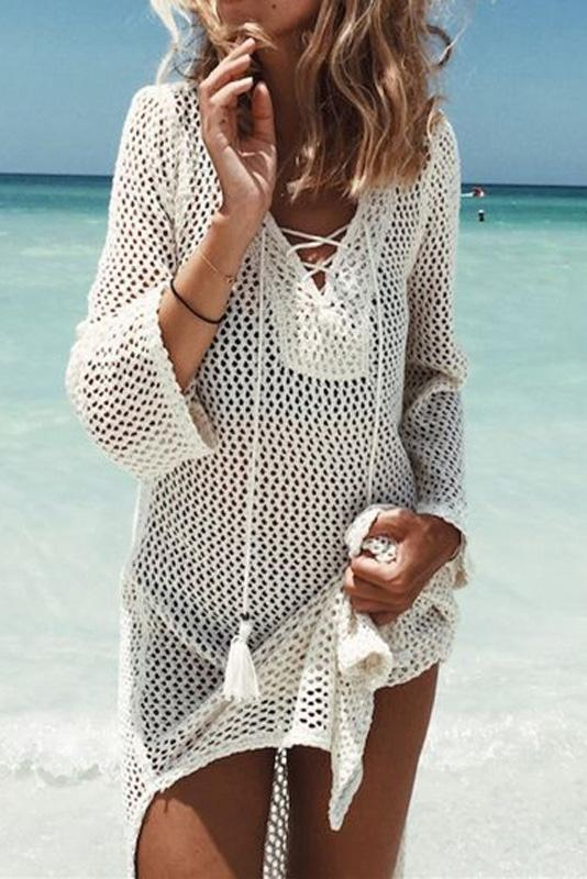 Sexy See-Through Lace-Up Cover Up