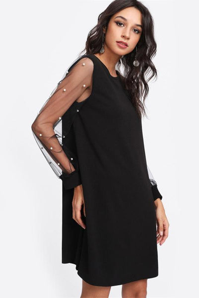 Chic Puff Sleeve Patchwork Day Dress