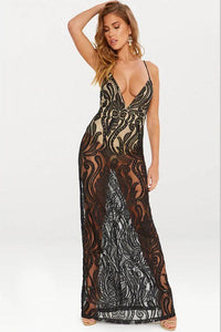 Sexy See-Through V-Neck Maxi Dress