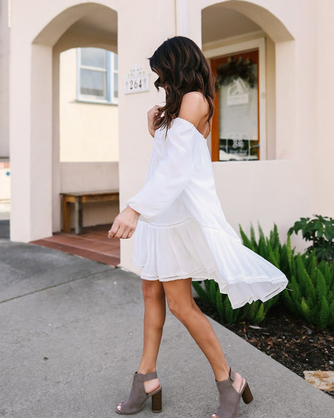 Chic Off Shoulder Pure White Day Dress