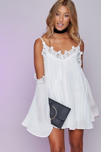 Elegant Off Shoulder Flare Sleeve Party Dress