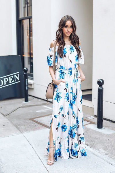 Vogue Off Shoulder Maxi Dress
