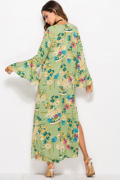 Stylish Printing Tie-Front Maxi Dress