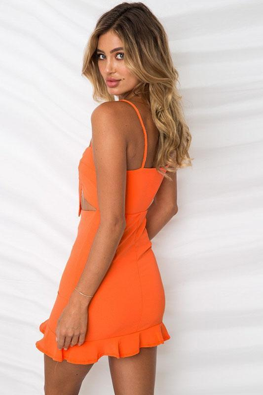 Sexy Backless 1-Piece Falbala Club Dress