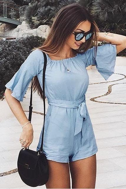Plain Slash Collar Lace-Up Romper