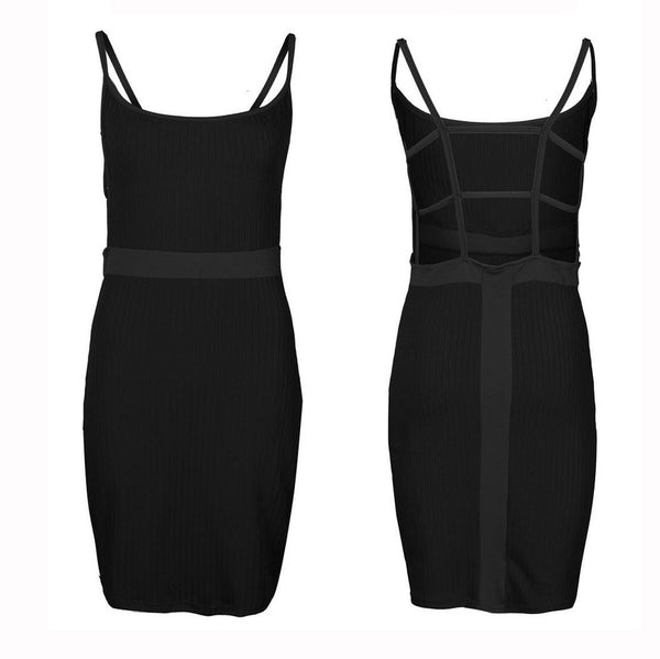 Sexy Cross Spaghetti Strap Bodycon Dress
