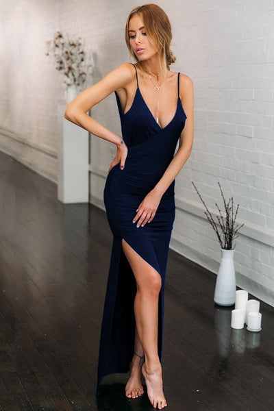 Vogue Side-Slit Pleated Party Dress
