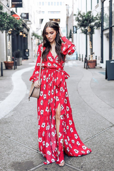 Chic Belted Printing Maxi Dress