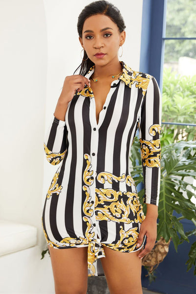 Stylish Printing Turn-Down Collar Bodycon Dress