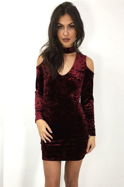 Chic Off-Shoulder V-Neck Club Dress