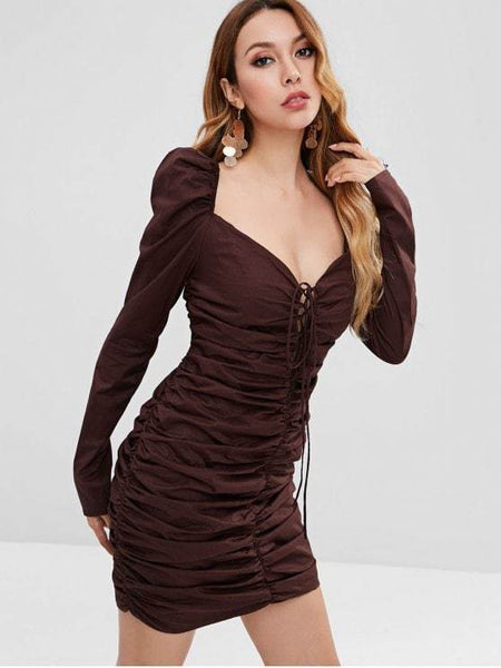 Lace Up Ruched Bodycon Dress