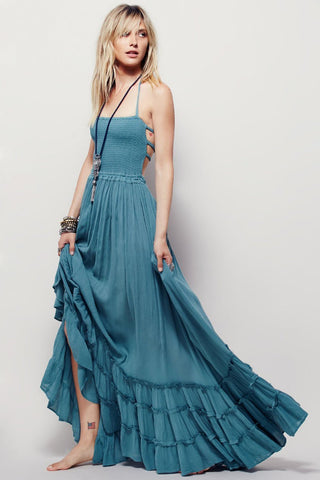 Vogue Halter Backless Maxi Dress