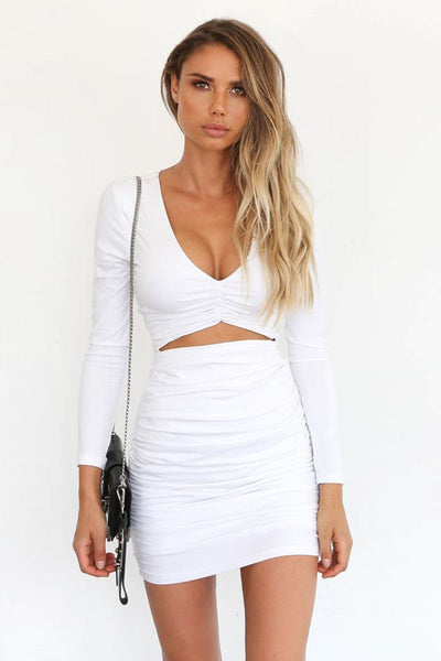 Sexy Pleated Cut-Out Club Dress