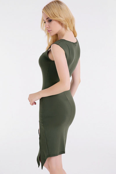 Sexy Plain Side-Slit Bodycon Dress