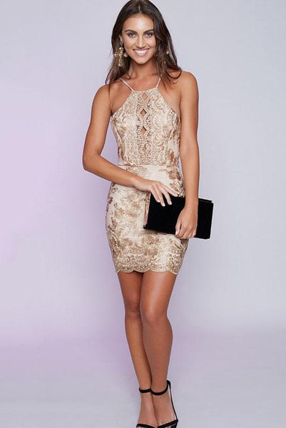 Sexy Hollow Backless Lace Dress